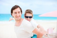 Happy father and son Stock Photos