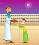 Happy father and son with dates for Eid Royalty Free Stock Images