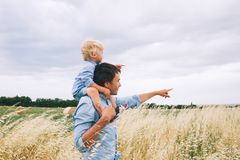 Happy father and son. Family background. royalty free stock photo