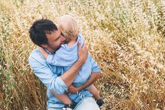 Happy father and son. Family outdoors together royalty free stock image