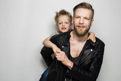 Happy Father and Son. Fathers day Royalty Free Stock Photos