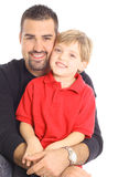 Happy father and son isolated on white Stock Images