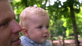 Happy father and son in park. Summer stock video footage
