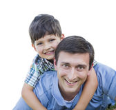 Happy Father and Son Piggyback Isolated on White. Happy Father and Son Piggyback Isolated on a White Background Stock Photos
