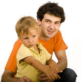 Happy father and son play isolated on white Stock Photography