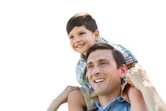 Father and Son Playing Piggyback Isolated on a White Background. Happy Father and Son Playing Piggyback Isolated on a White Background Royalty Free Stock Image