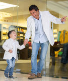 Father and son shopping Stock Photo