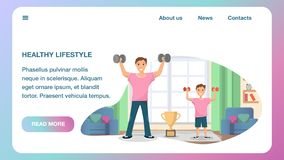 Happy Father and Son Standing Training Home Sport. Horizontal Banner Image Healthy Lifestyle. Man and Child Raising his Hand Up with Dumbbell. Physical Hand stock illustration