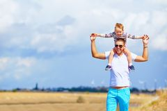 Happy father and son in summer day. Together royalty free stock photos
