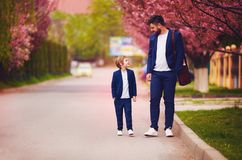 Happy father and son walking together along blooming spring street, wearing suits Stock Photos