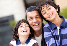 Happy father with sons Royalty Free Stock Image