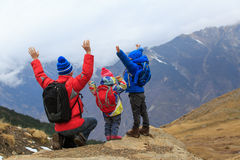 Happy father with two kids travel in scenic mountains Royalty Free Stock Image