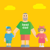 Happy father walking with his daughter and son Stock Image