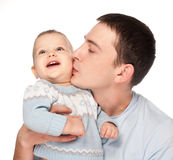 Happy Father With A Baby Isolated On A White Royalty Free Stock Images
