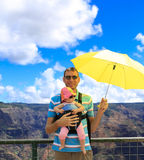 Happy father with young traveler in Kauai. Waimea Canyon. Stock Photos