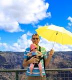 Happy father with young traveler in Kauai. Waimea Canyon. Stock Photos