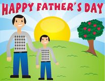 Happy Fathers Day. Father with identical little boy with a happy father's day note in a beautiful background with sunset royalty free illustration