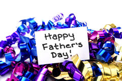 Happy Fathers Day. Colorful ribbon with handwritten Happy Fathers Day tag royalty free stock photo