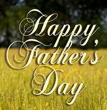 Happy Fathers Day. Type on a field background Royalty Free Stock Photography