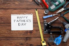 Happy Fathers Day background, card with repair tools royalty free stock photo
