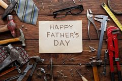 Happy Fathers Day background, card with repair tools stock image