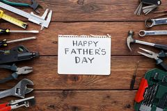 Happy Fathers Day background, card with repair tools stock photos