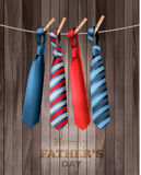 Happy Fathers Day Background With A Colorful Ties On Rope. Stock Image