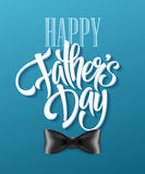 Happy fathers day background with greeting lettering and bow tie. Vector illustration Royalty Free Stock Image