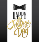 Happy fathers day background with greeting lettering and bow tie. Vector illustration Stock Images