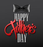 Happy fathers day background with greeting lettering and bow tie. Vector illustration Stock Photo