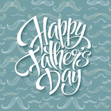 Happy fathers day background with greeting lettering and mustache pattern. Vector illustration Stock Photo