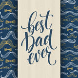 Happy fathers day background with greeting lettering and mustache pattern. Vector illustration Royalty Free Stock Photos