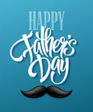 Happy fathers day background with greeting lettering and mustache. Vector illustration Royalty Free Stock Image