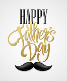 Happy fathers day background with greeting lettering and mustache. Vector illustration Stock Photos