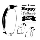 Happy fathers day background typography and lettering with penguin. Black letters on white background Royalty Free Stock Photos