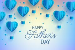 Happy Fathers Day banner with blue hot air balloons of heart shape in paper art style and greeting sign. Royalty Free Stock Photography