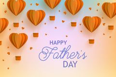Happy Fathers Day banner with orange hot air balloons of heart shape in trendy paper art style and greeting sig. Stock Photo