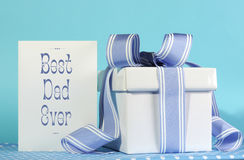 Happy Fathers Day, Best Dad Ever, greeting card and gift. Happy Fathers Day, Best Dad Ever, greeting card with blue and white gift box on blue background stock images