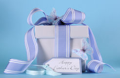 Happy Fathers Day blue butterfly theme gift Stock Photo