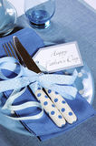 Happy Fathers Day blue theme table setting close up Stock Images