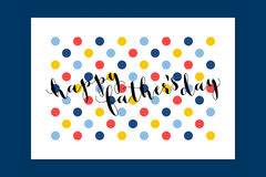 Happy Fathers Day calligraphy greeting card with polka dot Stock Photos