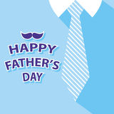 Happy fathers day card. Background tie and blue shirt Stock Photos