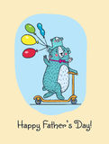 Happy Fathers day card with bear dad and child Royalty Free Stock Photo