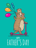 Happy Fathers day card with bear dad and child Stock Photos