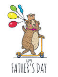 Happy Fathers day card with bears Stock Image