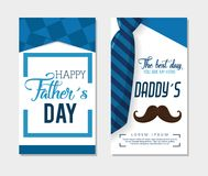 Happy fathers day card with calligraphy and accessory royalty free illustration