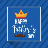 Happy fathers day card celebration mustache striped background. Vector illustration Stock Image