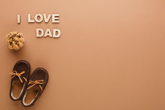 Happy Fathers Day card on cork texture background Royalty Free Stock Images