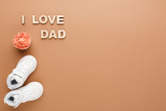 Happy Fathers Day card on cork texture background Royalty Free Stock Image