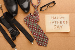 Happy Fathers Day card on cork texture background stock images